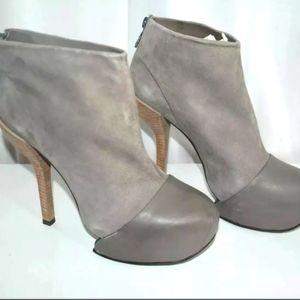 BCBG MAX AZRIA RUNWAY Gray Suede Leather Bootie